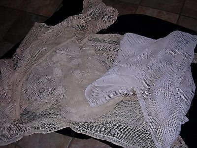 Lot Of 6 Panels Of Antique Cotton Lace Curtains Mixed Lot Cutters