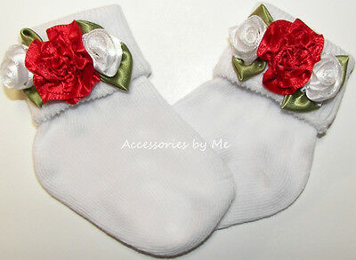 Red White Socks Rose Flowers Floral Newborn Infant Baby Girl 1st Christmas Party