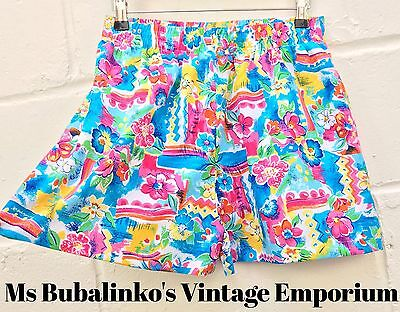 Vintage 90s Bright Abstract Floral High Waist Shorts Size 12 14 Festival Ibiza