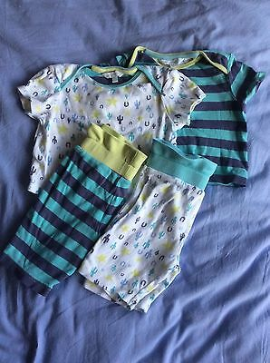2x t-shirts and shorts, John Lewis Baby, 6-9 months