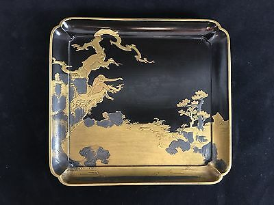 Japanese Lacquer Tray with Monkeys, Excellent Condition