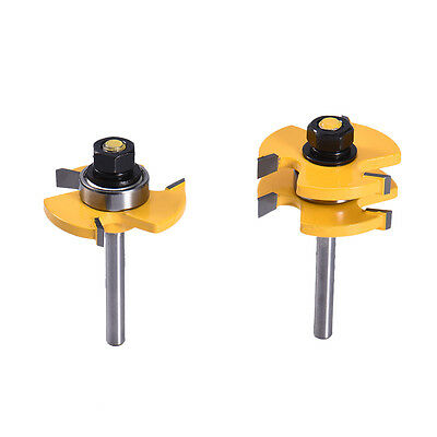 New 2pcs 3/4'' Stock 1/4'' Shank Cutter Tool Tongue and Groove Router Bit Sets