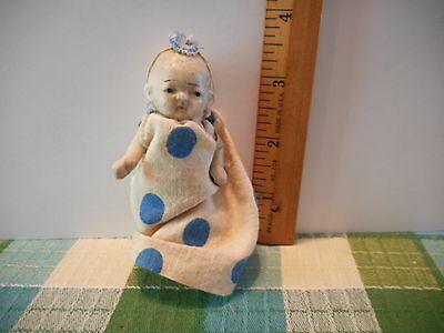 """Bisque 3.5"""" Tall Baby Doll Jointed Limbs Japan Vintage Old #639"""