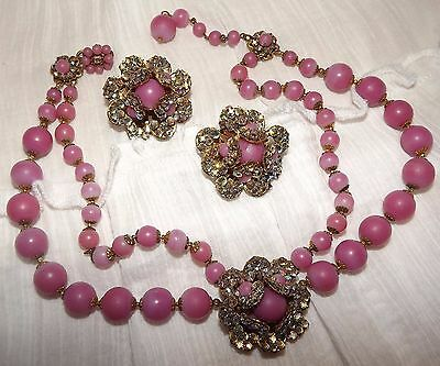 VINTAGE MIRIAM HASKELL PINK NECKLACE & CLIP EARRINGS SET Glass &  AB Rhinestones