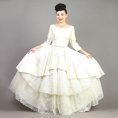 vtg EMMA DOMB wedding TIERED LACE satin floral scalloped gown dress 50s XS/S