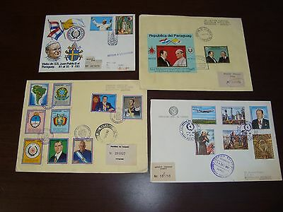 Stroessner Pompidou Pope John Paul Ii Map Coat Of Arms 4 Paraguay Fdc Cover