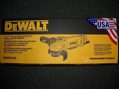"DeWalt DWE402 4-1/2"" Small Angle Grinder Paddle Switch 11 Amps NEW Electric Tool"