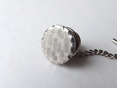 Vintage 1950s 1960s Tie Pin Tac Silver Tone Circular Textured Face FREE P&P