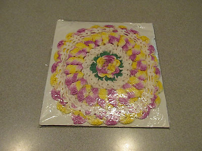 """Vintage Hand Crocheted Doily Flowers Scalloped Purple Yellow,White,Green~7"""""""