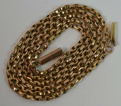 """Antique 9ct Rose Gold 20"""" Long Box Link Necklace Chain t0966"""