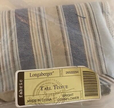 Tall Tissue Basket Liner From Longaberger Cabana Stripe Fabric New Rare