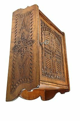 Small Antique Frisian Chip Carved Single Door Wall Cabinet, Dutch.