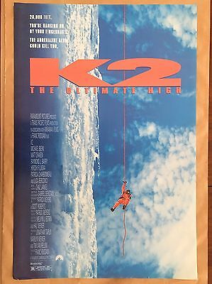 "K2 : The Ultimate High  27"" x 40"" Vintage Adventure 1991 Original Movie Poster"