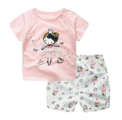 2pc Baby clothes infant baby girls cotton T shirt+short pants PINK 12-24 M