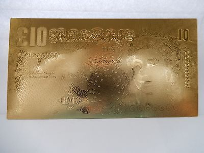 24K GOLD COATED 1 No £10 BANKNOTE **BRAND NEW **