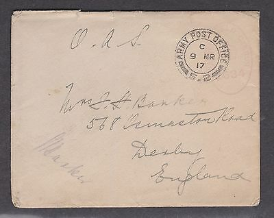 1917 George V Army Post Office Cover Derby Postmark S.2