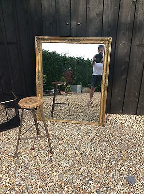 Large Antique Gilt Overmantle Mirror Loft Industrial Chic French 19th Foxed Wall