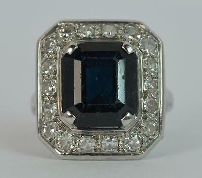 4.00ct Sapphire and Diamond 18ct White Gold Art Deco Cluster Ring