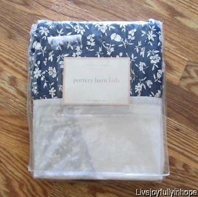 POTTERY BARN KIDS ~ New! ~ Blue & White SAVANNA Floral Twin Bed Skirt