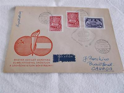 Hungary 1951  Air Mail Cover To Canada  Sc#933-934    Rs