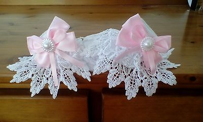 baby girls white socks with romany lace and big pink bow size 3-6 month s new