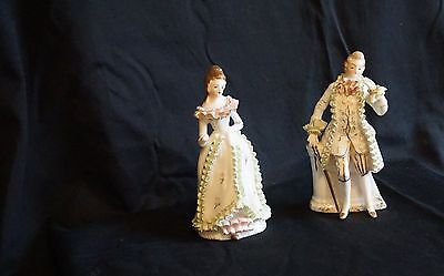 Shafford China Figurines -  Man and Woman - Hand Decorated and Numbered