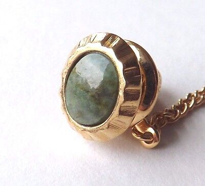 Vintage 1970s Tie Pin Tac Gold Tone Frame with Green Jade Inset Gemstone FREE PP