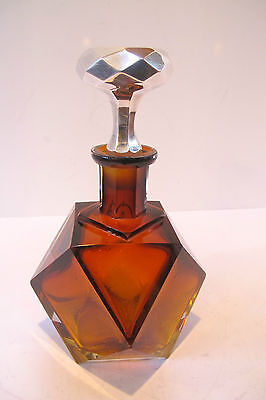 MAGNIFICENT QUALITY ART DECO AMBER CUT GLASS DECANTER with STERLING STOPPER.
