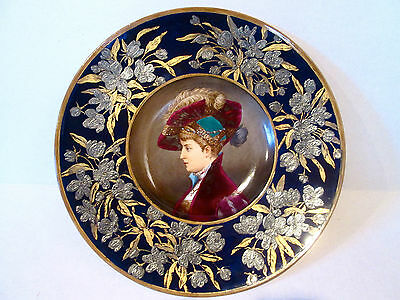Antique French Ceramic  Charger,hand Painted Decorated With Gold & Silver,signed