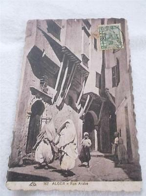 Old 1930 Algeria Postcard Alger Rue Arabe With Surcharged    Rs
