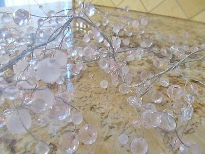 """Shabby Pale Baby Pink ~ 48"""" Sparkle Faux Crystals CHANDELIER GARLAND ~ Chic"""