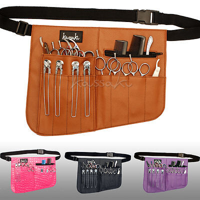 Kassaki Hairdressing Scissor Pouch Toolbelt -Holds 12 Barber Shears Combs & more