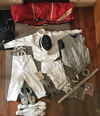 VINTAGE SANTELLI Fencing Starter Gear 44 Jacket 11 Shoes Med.Pants  5'9 Tall