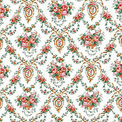 2 X Dolls House Wallpaper sheets 1/12th scale Floral #195 Quality Paper