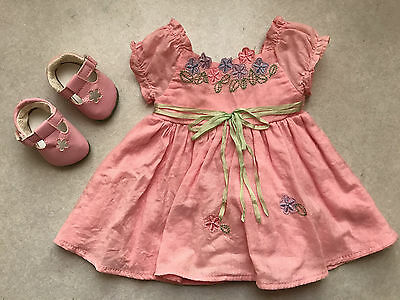 American Girl Bitty Twin Girl Baby doll Sunday Best - pink dress and shoes