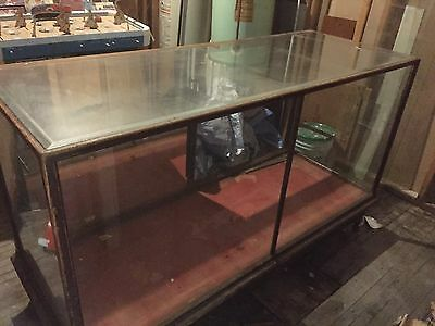 Antique Oak Store Display Case With Sliding Doors In Back
