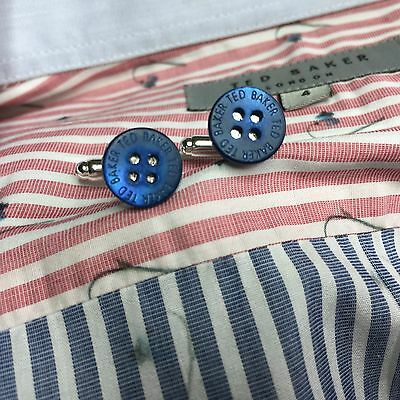 Mens Ted Baker Blue Mother Of Pearl Shirt Buttons Silver Plated Cufflinks + Bag