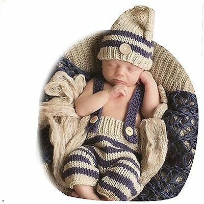 Fashion Cute Newborn Baby Photography Props Outfits Boy Girl Crochet Knitted Hat