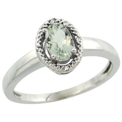 10K White Gold Diamond Halo Natural Green Amethyst Engagement Ring Oval 6X4 mm,