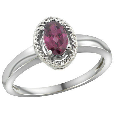 14K White Gold Diamond Halo Natural Rhodolite Engagement Ring Oval 6X4 mm, size