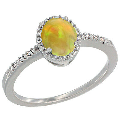 14K White Gold Diamond Natural Ethiopian HQ Opal Engagement Ring Oval 7x5 mm,