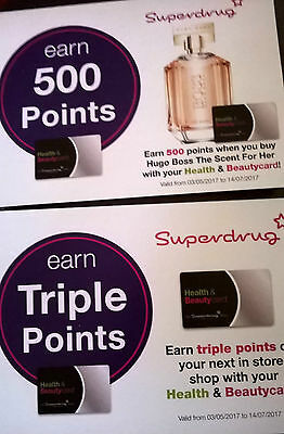 Superdrug Triple Points & 500 Points on Hugo Boss Vouchers/Coupons