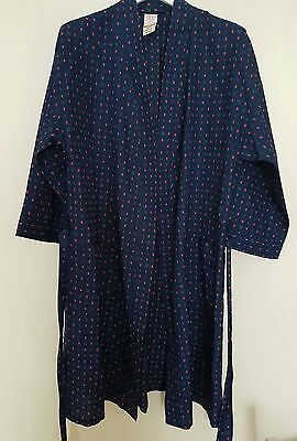 """Vintage Men's Michael Navy Silky Dressing Gown Smoking Jacket 60' Chest 40-42"""" M"""