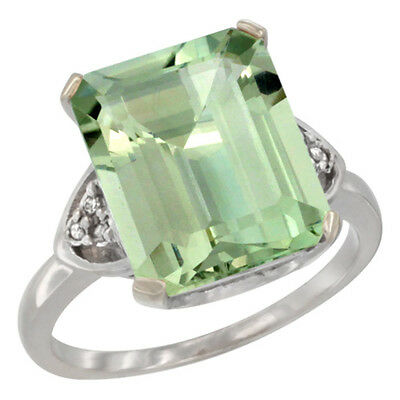10K White Gold Natural Green Amethyst Ring Octagon 12x10mm Diamond Accent, size