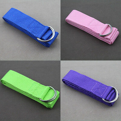 Hot Stretch Belt Gym Exercise Fitness Cotton Yoga Strap Sporting blue