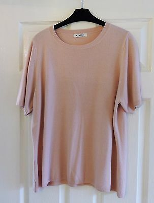 M&S Classic Short Sleeve lightweight Summer Jumper in Blush Pink Size 20