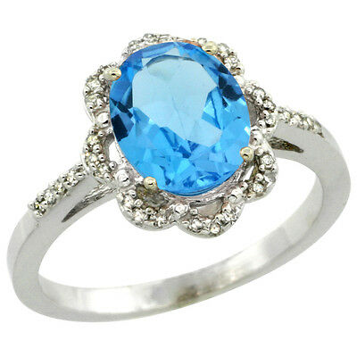 10K White Gold Diamond Halo Natural Swiss Blue Topaz Engagement Ring Oval 9x7mm,