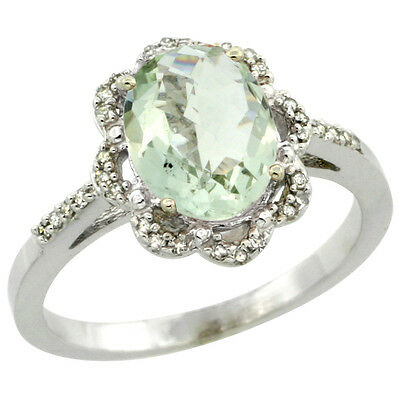 10K White Gold Diamond Halo Natural Green Amethyst Engagement Ring Oval 9x7mm,