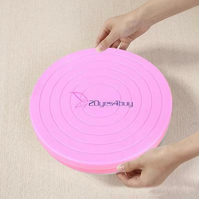 Small Cake Revolving Turntable Decor Stand Platform Rotating Baking Tools Pink