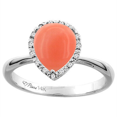 14K White Gold Natural Coral & Diamond Halo Engagement Ring Pear Shape 9x7 mm,